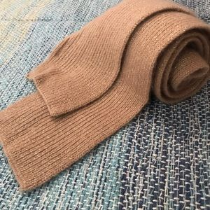"""Tan Cashmere Knit Scarf with Gold Specks 74"""" Long"""